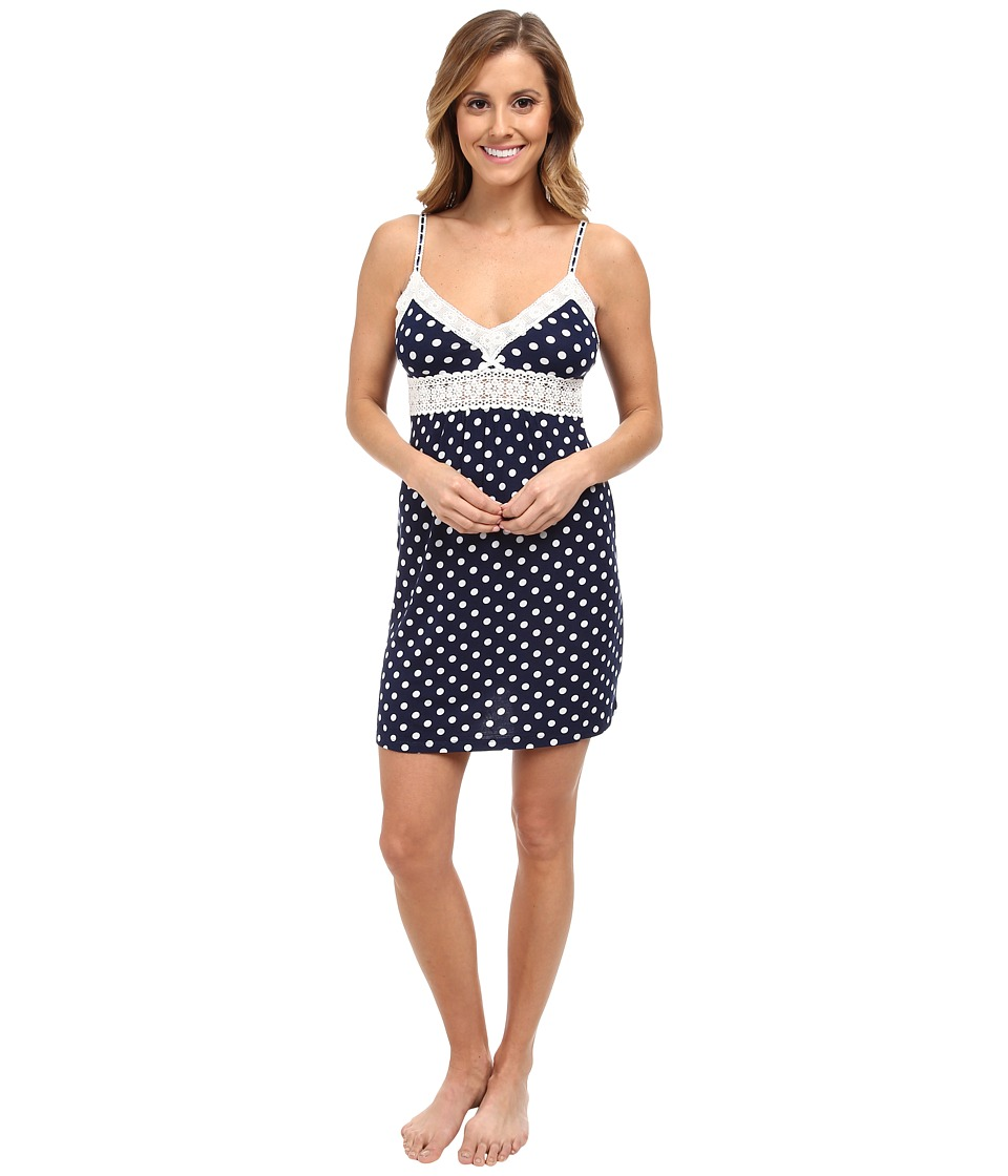 P.J. Salvage - Polka Dot Slip Sleep Dress (Navy) Women's Pajama