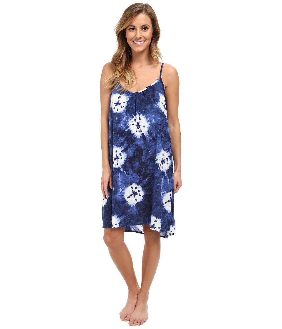 P.J. Salvage - Tie-Dye Slip Sleep Dress (Navy) Women