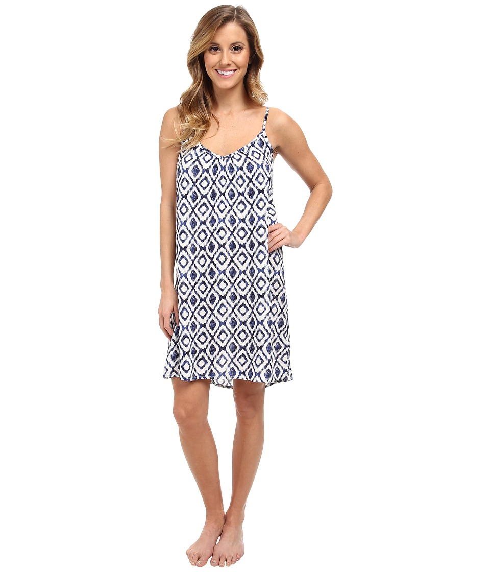 P.J. Salvage - Ikat Print Slip Sleep Dress (Ivory) Women's Pajama