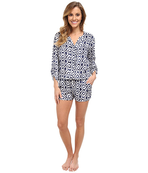 P.J. Salvage - Ikat Sleep Romper (Ivory) Women's Jumpsuit & Rompers One Piece