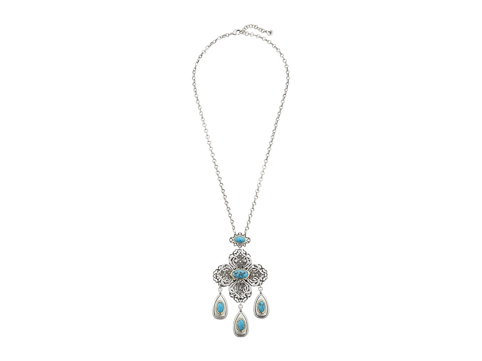 Sam Edelman - Multi Drop Filagree Pendant Necklace (Turquoise/Rhodium) Necklace