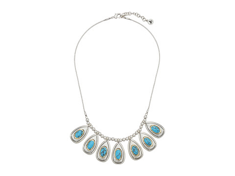 Sam Edelman - Multi Drop Frontal 18 Necklace (Turquoise/Rhodium) Necklace