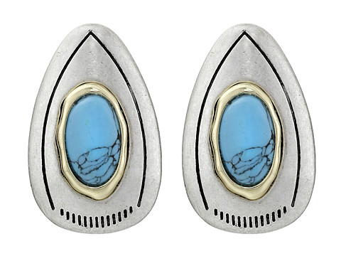 Sam Edelman - Large Color Stud Earrings (Turquoise/Rhodium) Earring