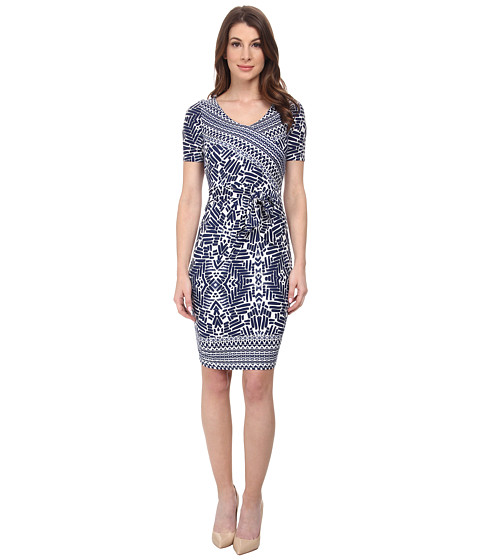 NYDJ - Maricella Aztec Indigo Wrap Dress (Washed Indigo) Women's Dress