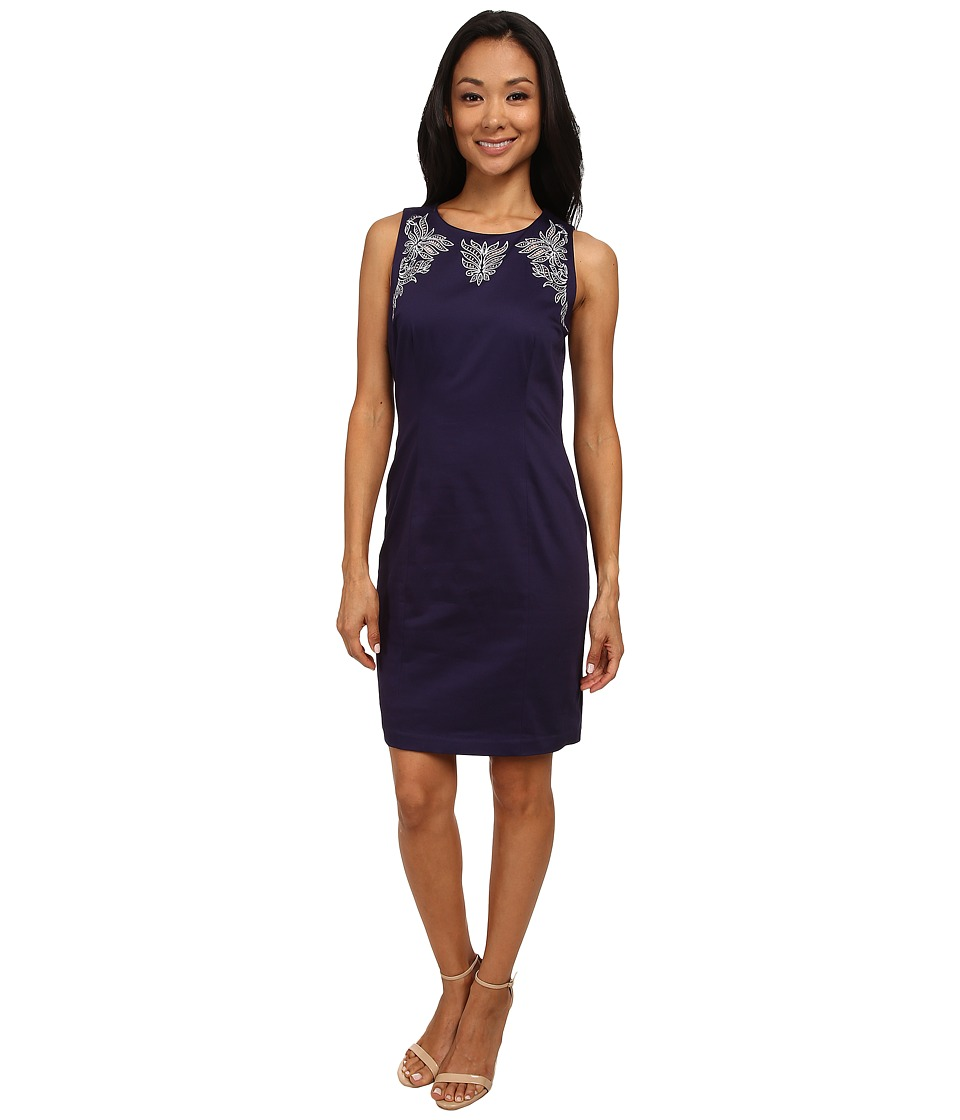 NYDJ - Karla Embroidered Shift Dress (Midnight Sky) Women
