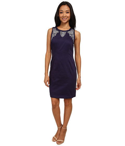 NYDJ - Karla Embroidered Shift Dress (Midnight Sky) Women's Dress
