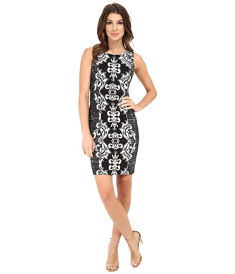 NYDJ - Candice Textured Printed Shift Dress (Black/Vanilla) Women