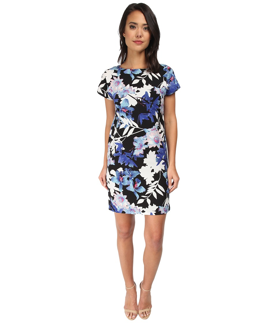 KUT from the Kloth - Printed Sheath Dress (Black/Royal) Women's Dress