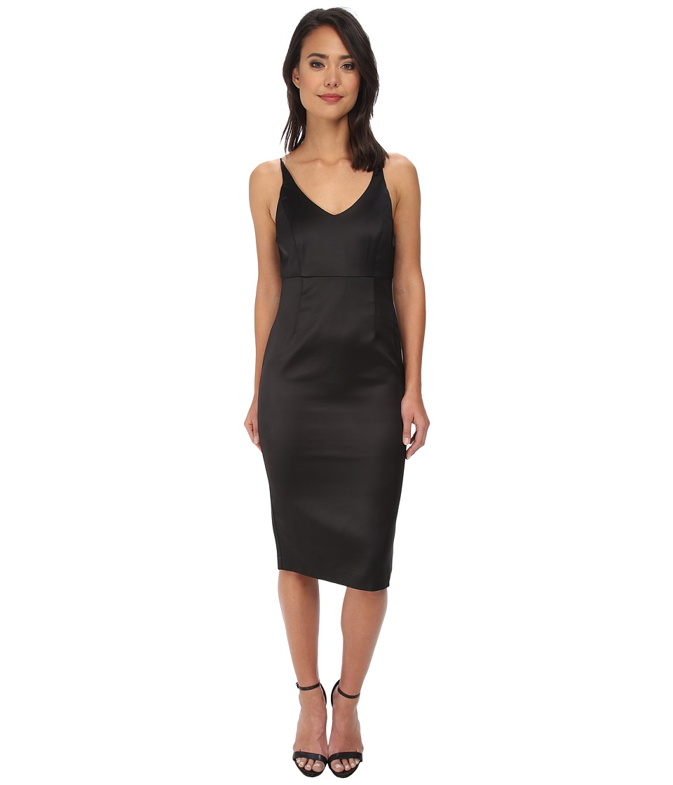 Bardot - V Midi Dress (Black) Women's Dress