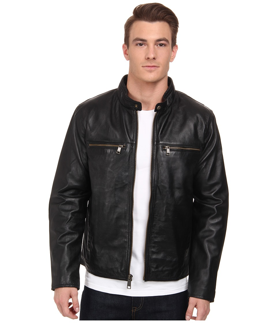 Marc New York by Andrew Marc - Leo - Drum Dyed Lamb Moto w/ Perf Details (Black) Men's Coat