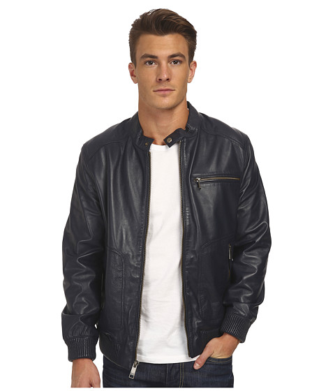 Marc New York by Andrew Marc - Larry - Drum Dyed Lamb Moto w/ Perf Details (Midnight) Men
