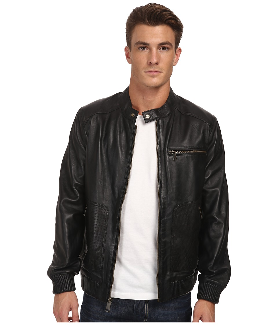 Marc New York by Andrew Marc - Larry - Drum Dyed Lamb Moto w/ Perf Details (Black) Men's Clothing