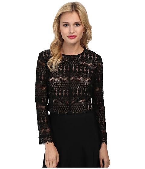 Bardot - Lace Panel Top (Black) Women's Blouse