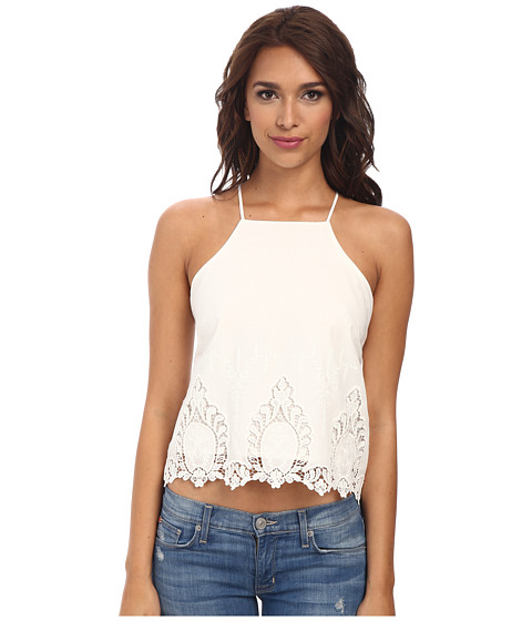 Bardot - X Back Lace Top (White) Women's Sleeveless