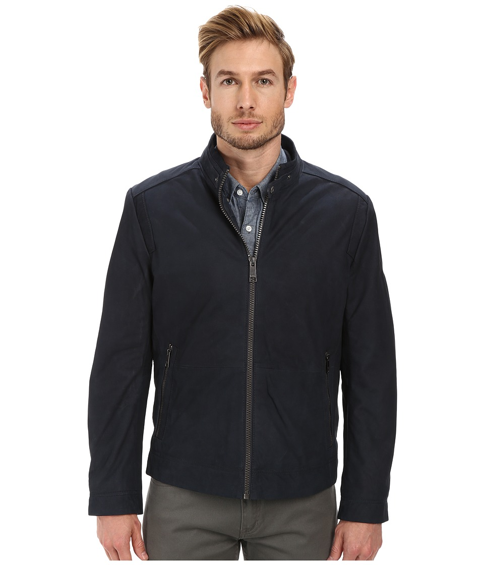 Marc New York by Andrew Marc - Nelson - Nubuck Zip Front Racer Jacket (Midnight) Men's Coat