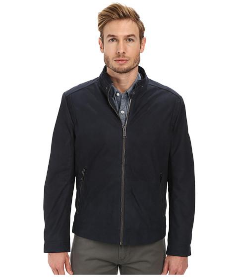 Marc New York by Andrew Marc - Nelson - Nubuck Zip Front Racer Jacket (Midnight) Men's Coat