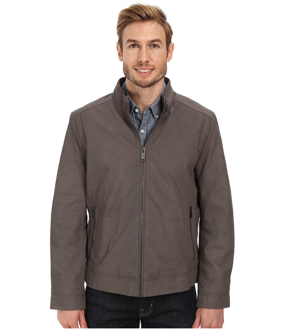 Marc New York by Andrew Marc - Nelson - Nubuck Zip Front Racer Jacket (Asphalt) Men's Coat