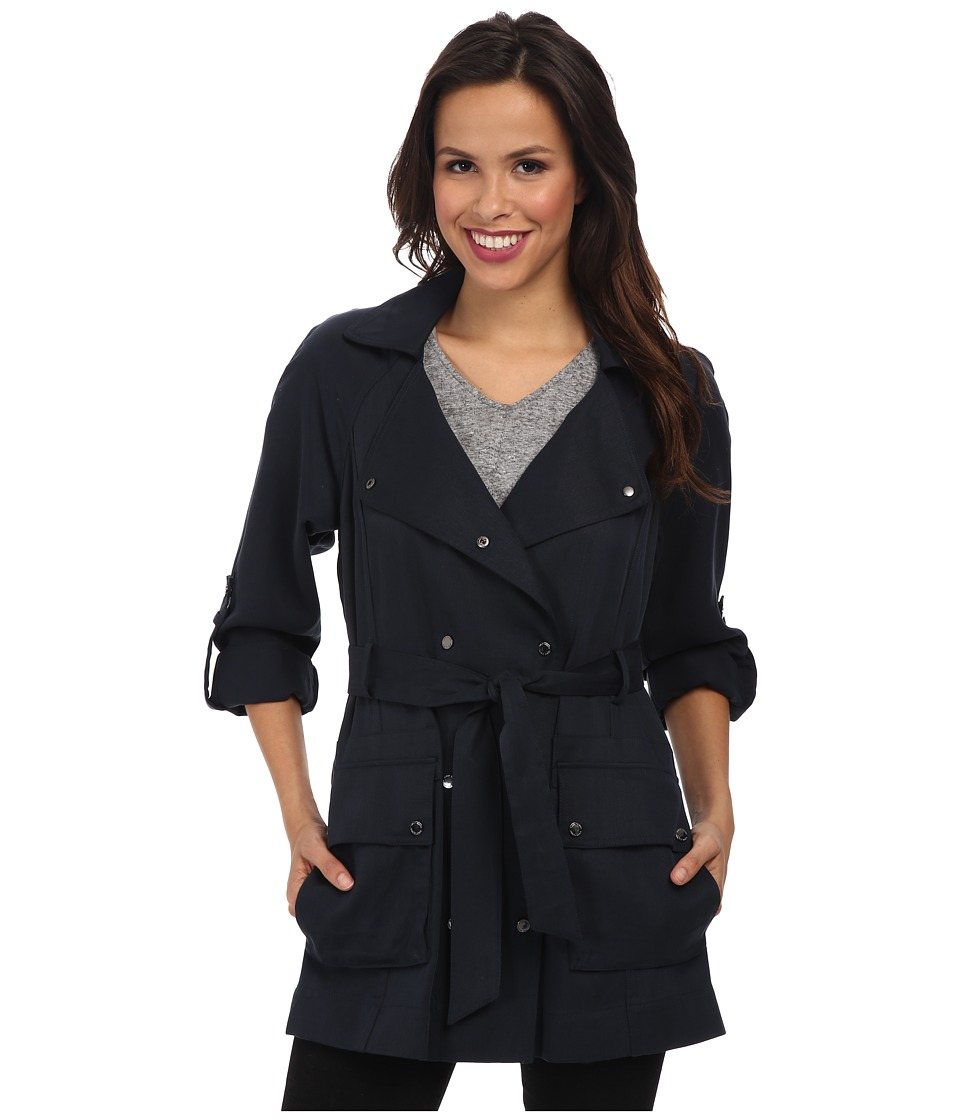 Vince Camuto - Fluid-Short Trench (Navy) Women's Coat