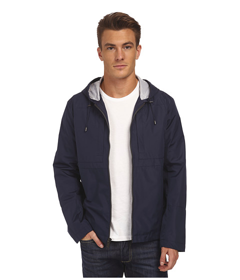 Marc New York by Andrew Marc - Brendan - City Rain Tech Hooded Zip Front Open Bottom (Navy) Men's Coat