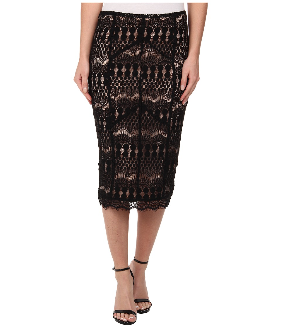 Bardot - Lace Panel Midi Skirt (Black) Women's Skirt