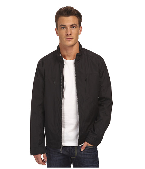 Marc New York by Andrew Marc - Billy - City Rain Tech Moto w/ Neoprene Details (Black) Men's Coat