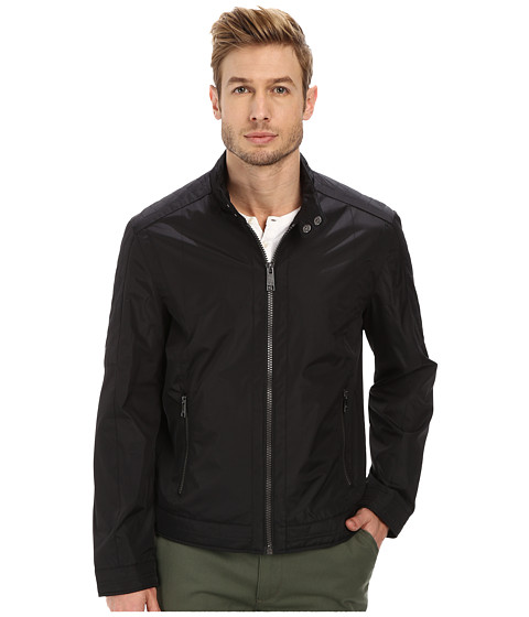Marc New York by Andrew Marc - Bryan - City Rain Tech Moto w/ Top Stitching Details (Black) Men