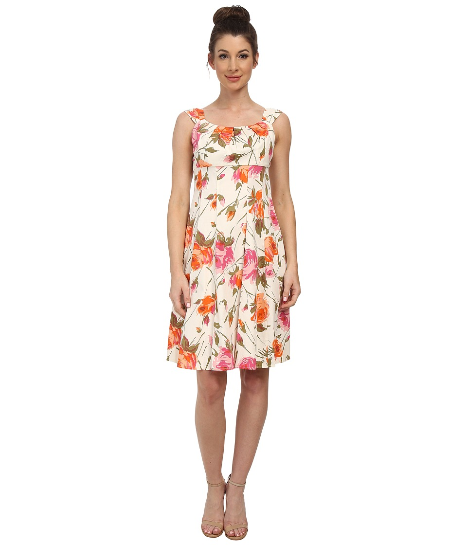 London Times - Printed Cotton Sateen Fit and Flare (Soft White/Orange) Women's Dress