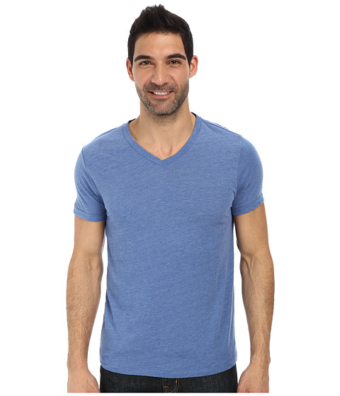 Lucky Brand - Weekend V-Neck Tee (Dusty Blue) Men's Short Sleeve Pullover