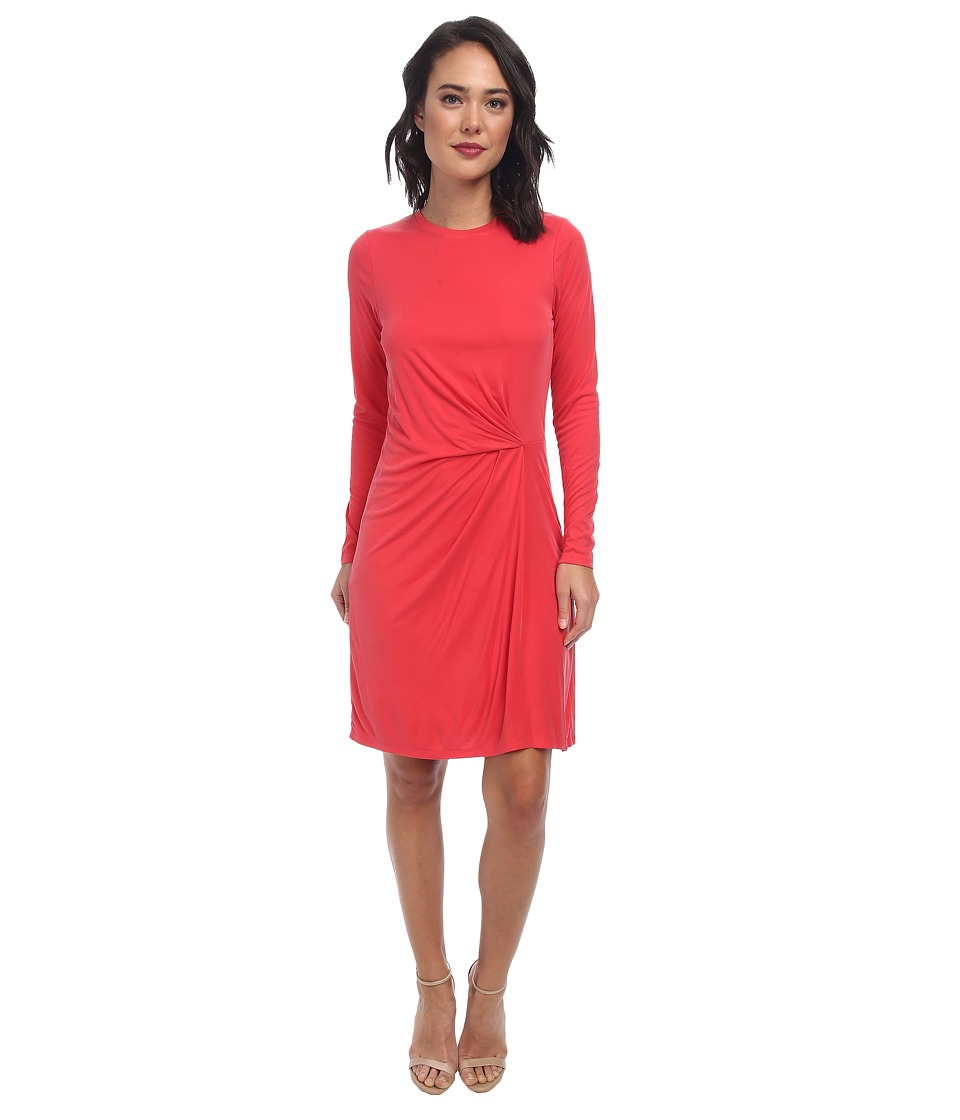 BCBGMAXAZRIA Roxie Long Sleeve Dress with Front Tuck (Vintage Red Berry) Women