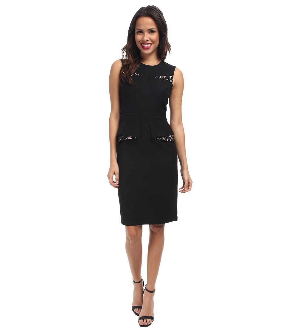 BCBGMAXAZRIA - Kelsie Contrast Folded Peplum Dress (Black Combo) Women's Dress