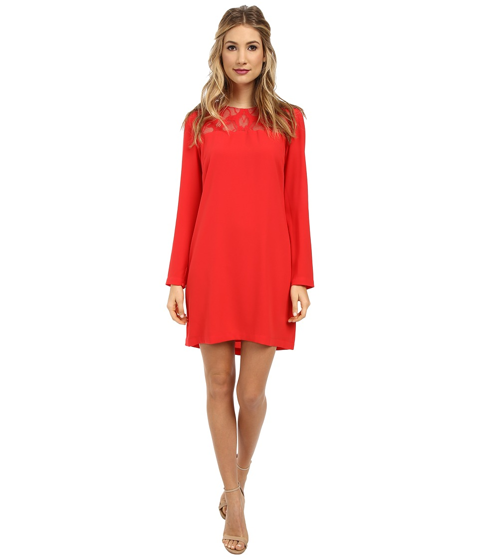 BCBGMAXAZRIA - Emilie Lace Yoke Drape Back Dress (Red Berry) Women's Dress
