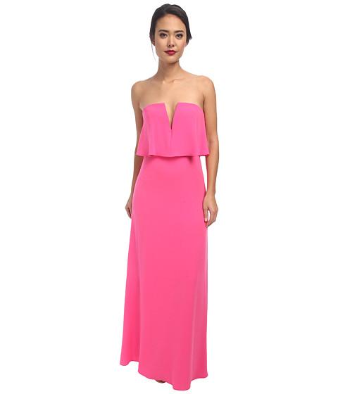 BCBGMAXAZRIA - Alyse Strapless Dress with Rouched Skirt (Neon Pink) Women