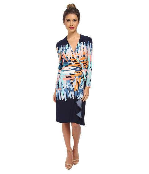 BCBGMAXAZRIA - Adele Printed Wrap Dress (Dark Ink Combo) Women's Dress