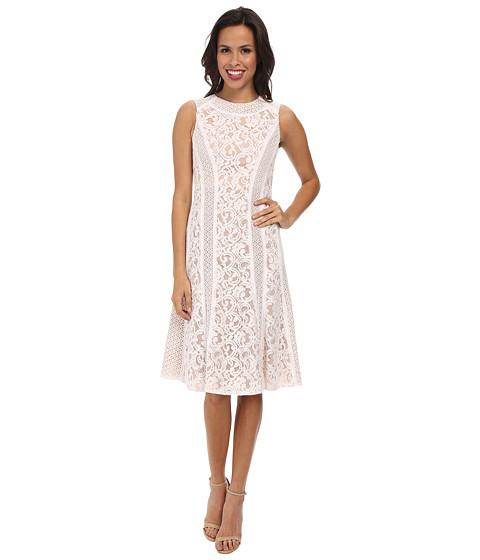 BCBGMAXAZRIA - Avril Round Neck Lace Blocked Dress (White) Women