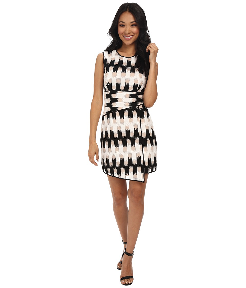 BCBGMAXAZRIA - Alivia Wrap Waist Asymmetrical Hem Dress (Black/White) Women's Dress