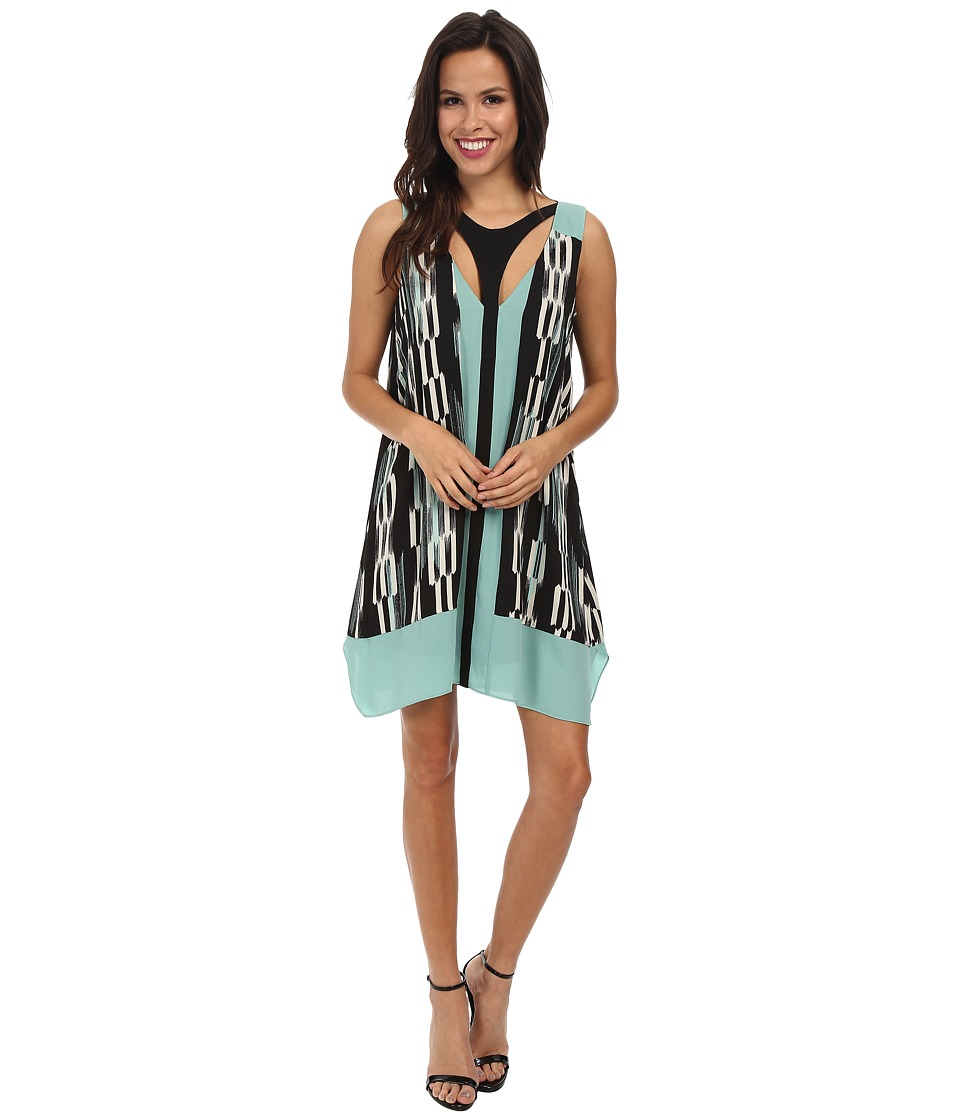 BCBGMAXAZRIA - Amelia Printed Cutout Dress (Black/Bright Teal Combo) Women's Dress