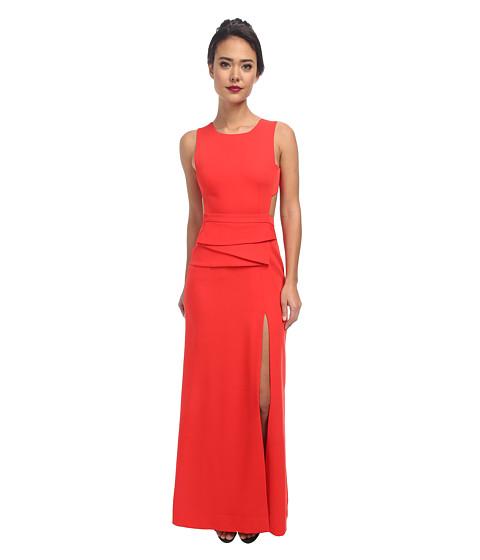 BCBGMAXAZRIA - Kiara Round Neck Dress with Peplum (Bright Poppy) Women