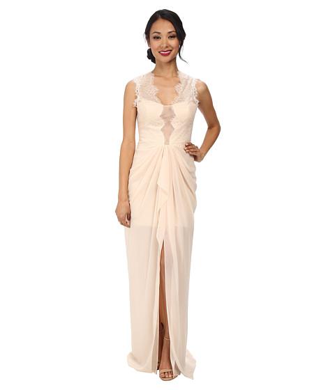 BCBGMAXAZRIA - Brandy Sleeveless V-Neck Gown with Lace (Vanilla) Women