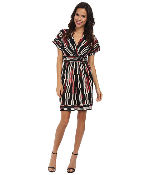 BCBGMAXAZRIA - Kaitlin Wrap Dress with Dolman Sleeves (Bright Poppy Combo) Women's Dress