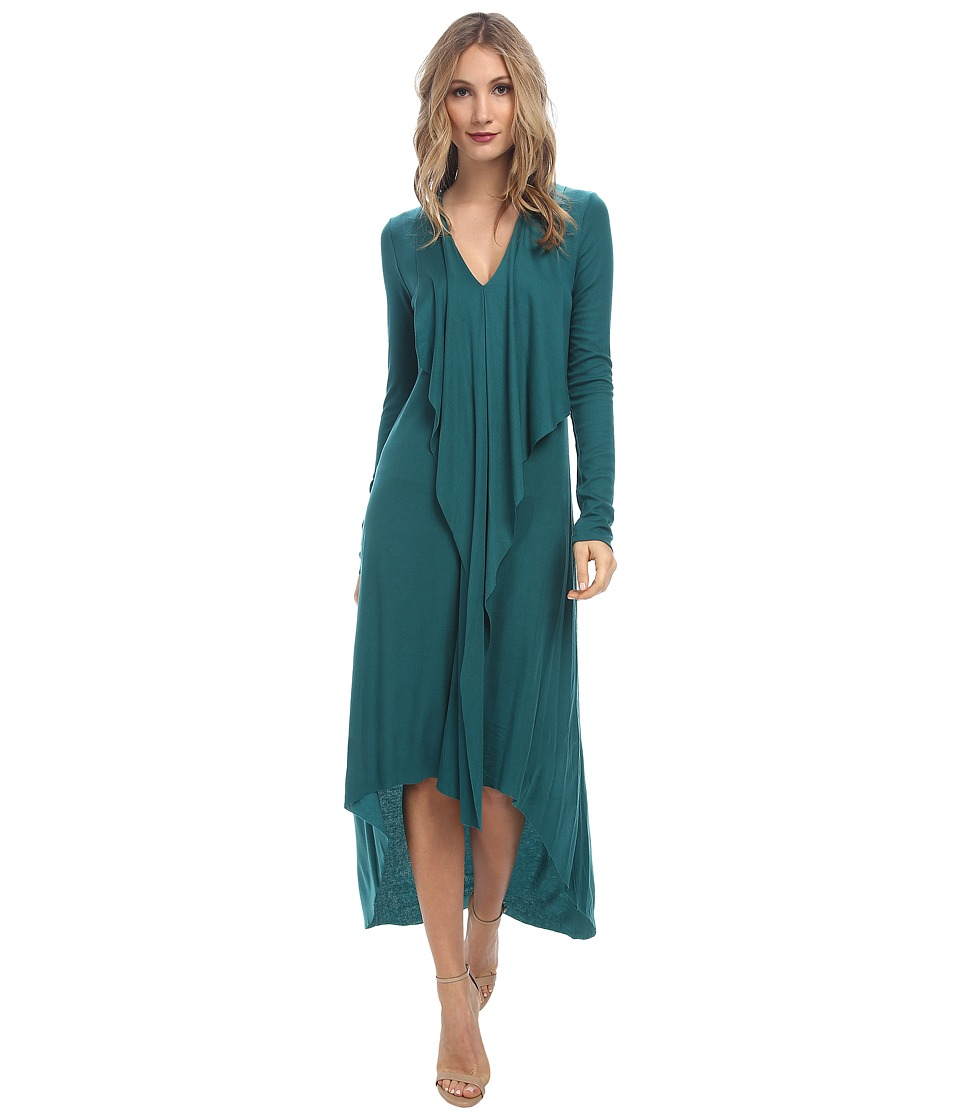 BCBGMAXAZRIA - Crissie Dress with Front Cascade Drape (Jewel Green) Women