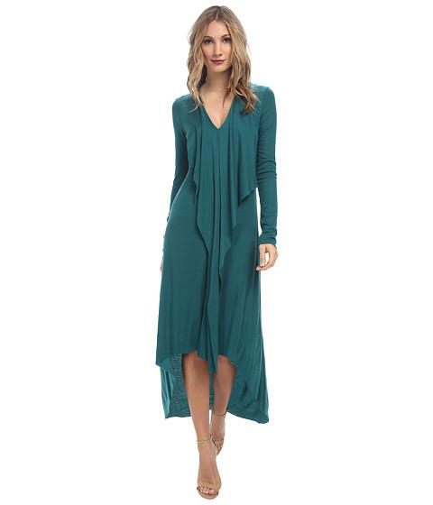 BCBGMAXAZRIA - Crissie Dress with Front Cascade Drape (Jewel Green) Women's Dress