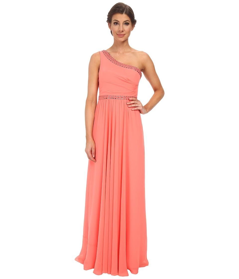 BCBGMAXAZRIA Danielle One Shoulder Gown (Pink Coral) Women