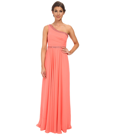 BCBGMAXAZRIA - Danielle One Shoulder Gown (Pink Coral) Women's Dress