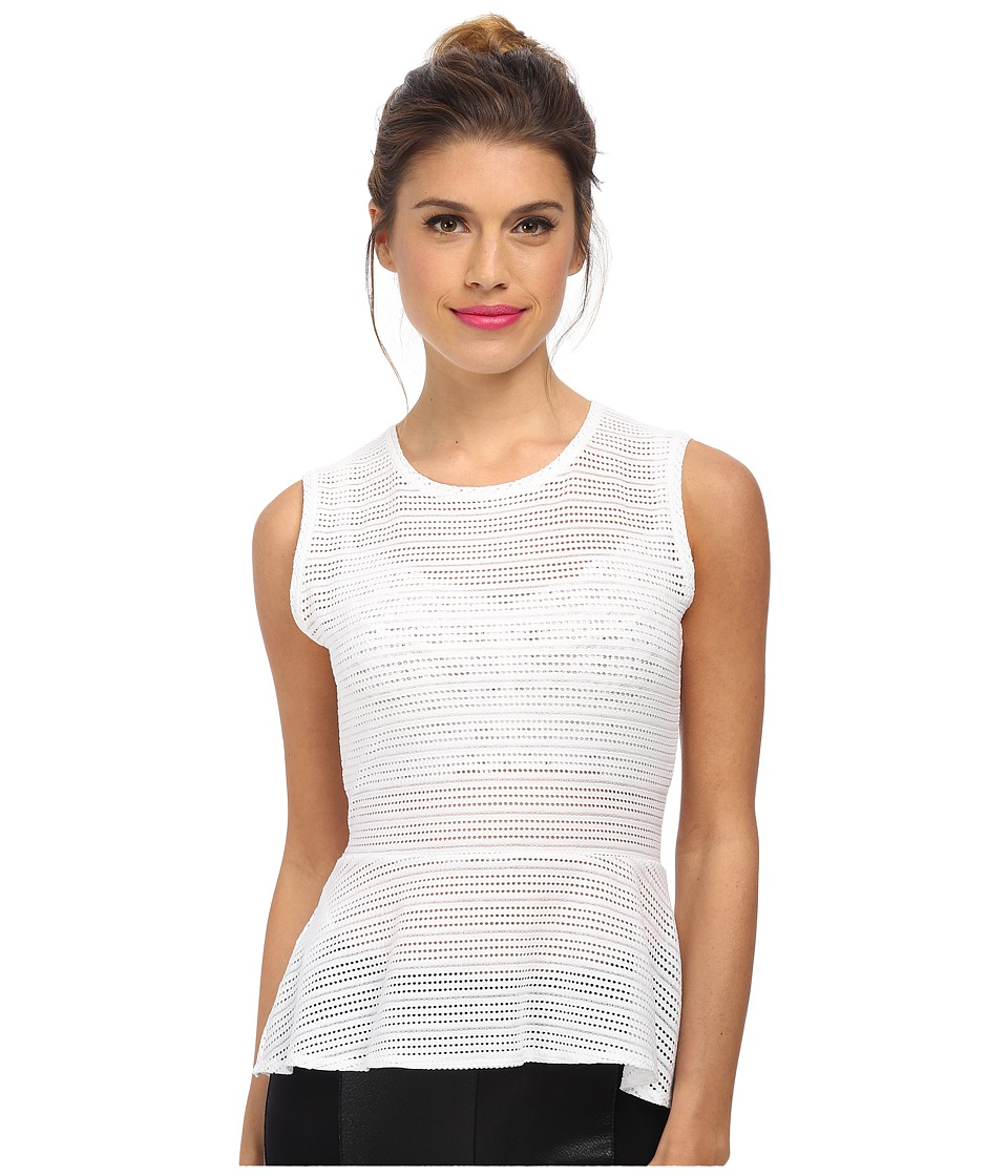 BCBGMAXAZRIA - Evia Lace Peplum Top (White) Women