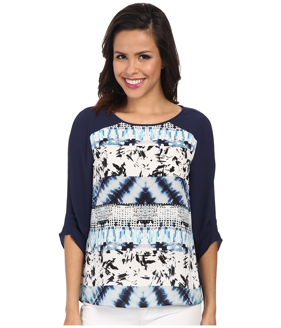 BCBGMAXAZRIA - Andie Printed Top with Draped Back (Blue Tide Combo) Women's Clothing