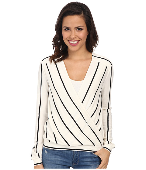 BCBGMAXAZRIA - Laurey Drape Striped Top (Ivory/Black) Women's Sweater