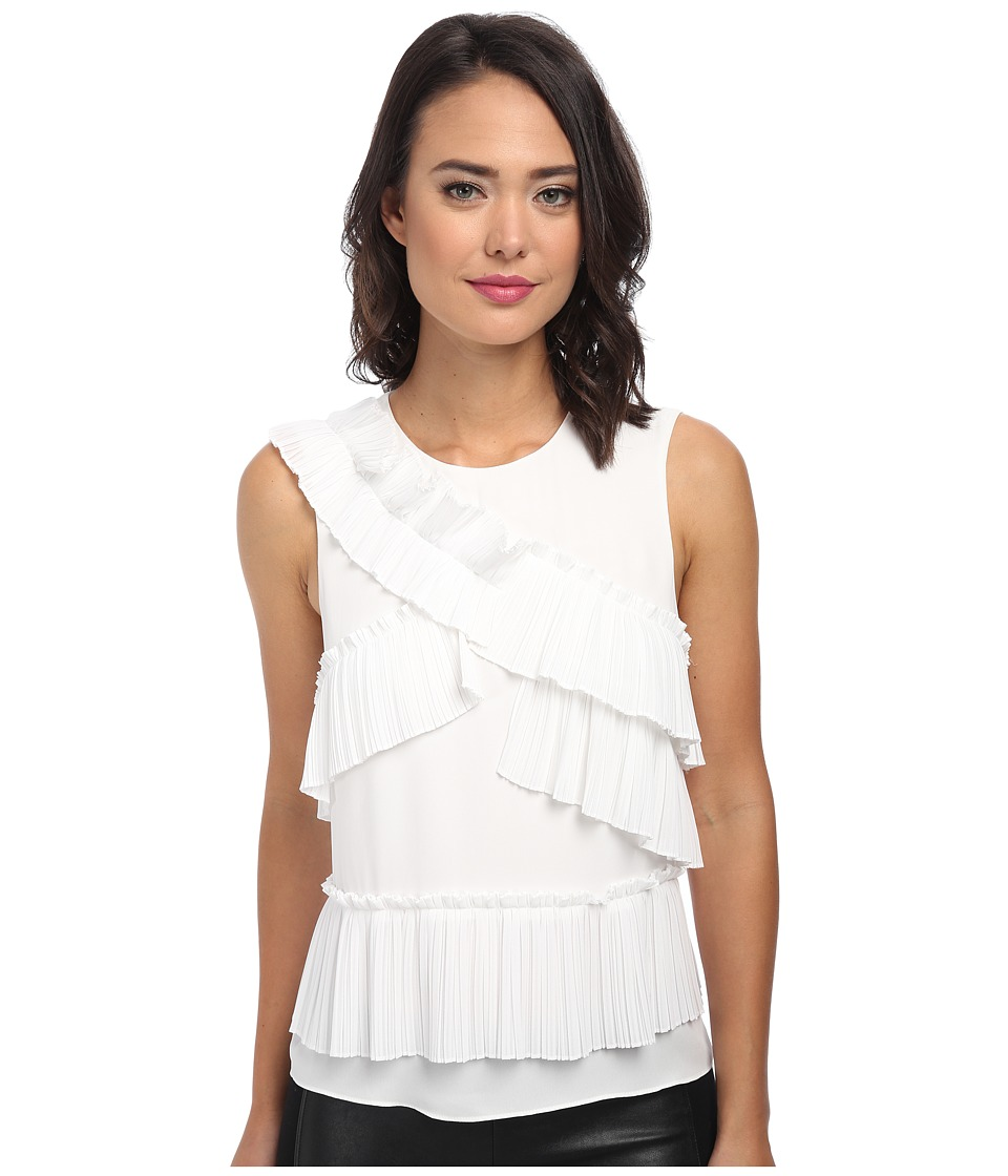 BCBGMAXAZRIA - Lorain Pleat Patched Front Top (White) Women's Clothing