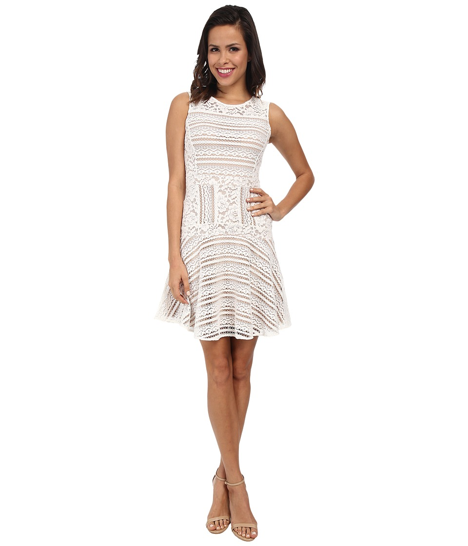 BCBGMAXAZRIA Jalina Lace Blocked Sleeveless Dress (Off White) Women