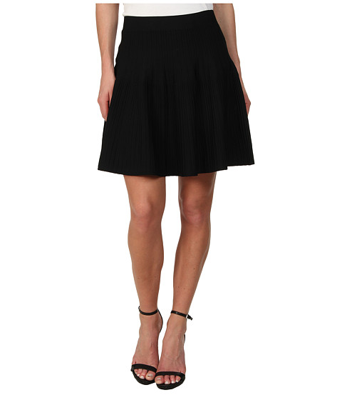 BCBGMAXAZRIA - Kelli Ottoman A-Line Skirt (Black) Women's Skirt