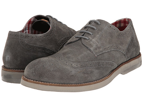 Ben Sherman - Ronnie Suede (Grey) Men's Lace Up Wing Tip Shoes